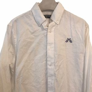 Chainsaw Shirt Button Down White Small Embroidered